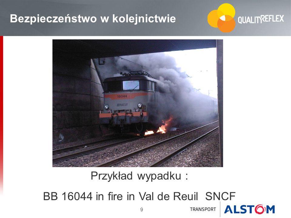 9 Bezpieczeństwo w kolejnictwie Przykład wypadku : BB 16044 in fire in Val de Reuil SNCF