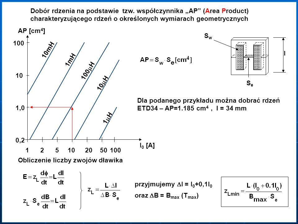 SeSe SwSw Dobór rdzenia na podstawie tzw. współczynnika AP (Area Product) charakteryzującego rdzeń o określonych wymiarach geometrycznych 0,2 1,0 10 1