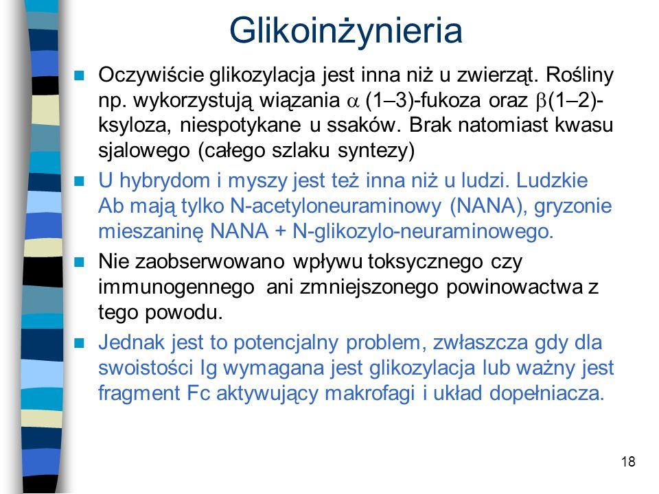 18 Oczywiście glikozylacja jest inna niż u zwierząt. Rośliny np. wykorzystują wiązania (1–3)-fukoza oraz (1–2)- ksyloza, niespotykane u ssaków. Brak n