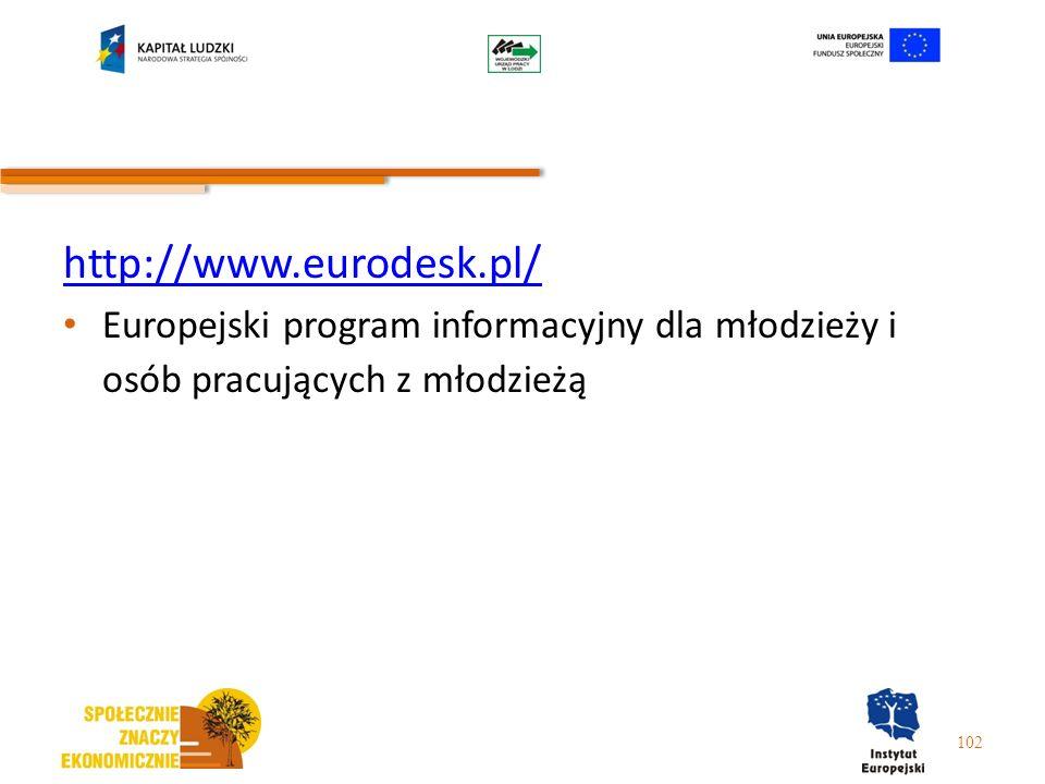 http://www.eurodesk.pl/ Europejski program informacyjny dla młodzieży i osób pracujących z młodzieżą 102