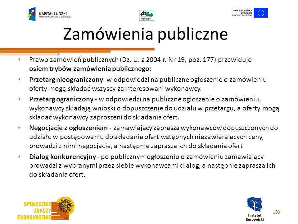 Zamówienia publiczne Prawo zamówień publicznych (Dz. U. z 2004 r. Nr 19, poz. 177) przewiduje osiem trybów zamówienia publicznego: Przetarg nieogranic
