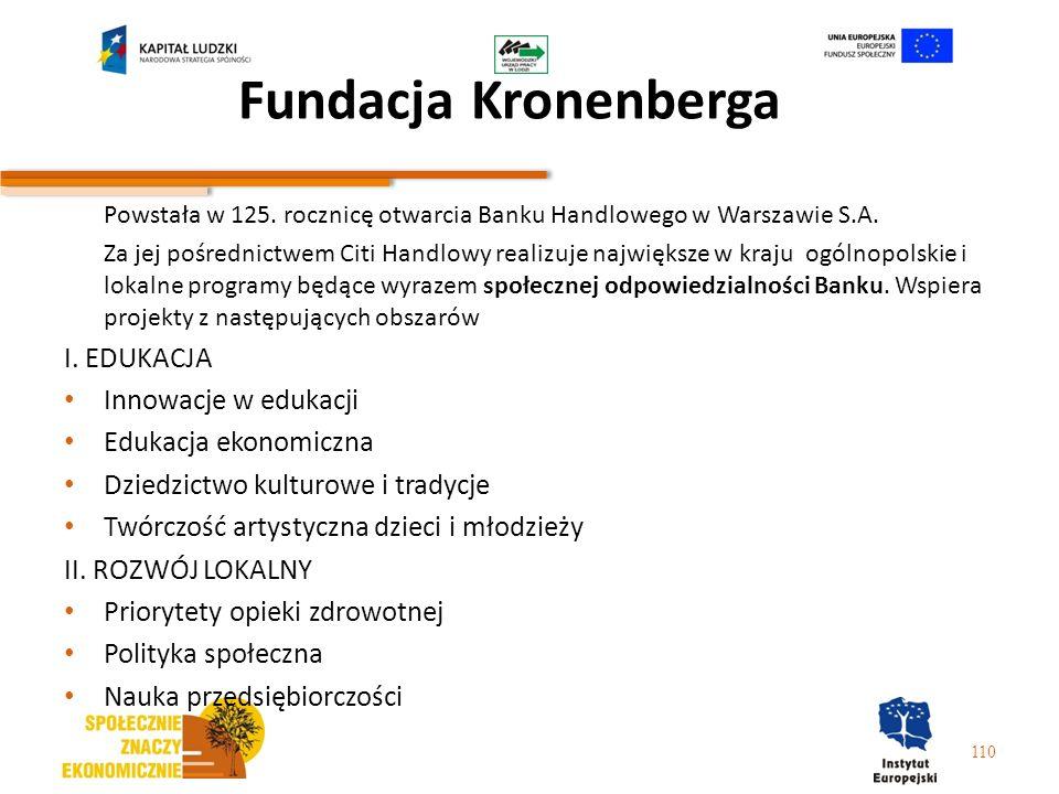 Fundacja Kronenberga Powstała w 125. rocznicę otwarcia Banku Handlowego w Warszawie S.A. Za jej pośrednictwem Citi Handlowy realizuje największe w kra