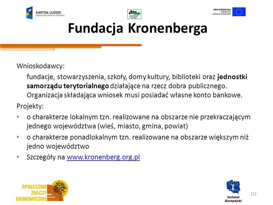 Fundacja Kronenberga Wnioskodawcy: fundacje, stowarzyszenia, szkoły, domy kultury, biblioteki oraz jednostki samorządu terytorialnego działające na rz