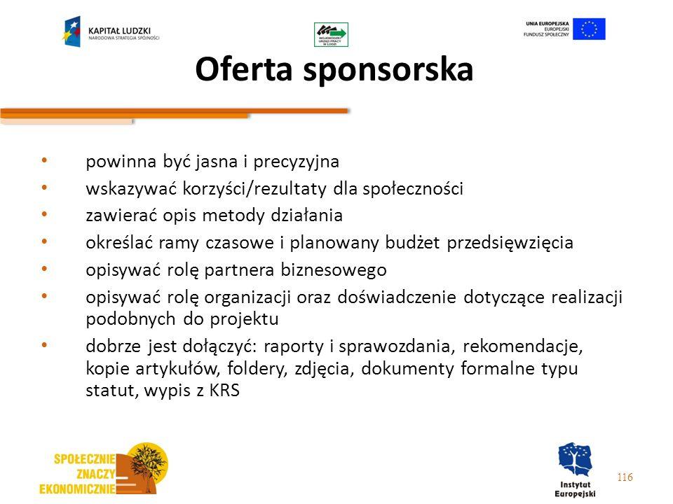 116 Oferta sponsorska powinna być jasna i precyzyjna wskazywać korzyści/rezultaty dla społeczności zawierać opis metody działania określać ramy czasow