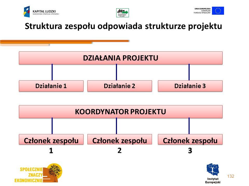 132 Struktura zespołu odpowiada strukturze projektu DZIAŁANIA PROJEKTU Działanie 1 Działanie 2 Działanie 3 KOORDYNATOR PROJEKTU Członek zespołu 1 Czło