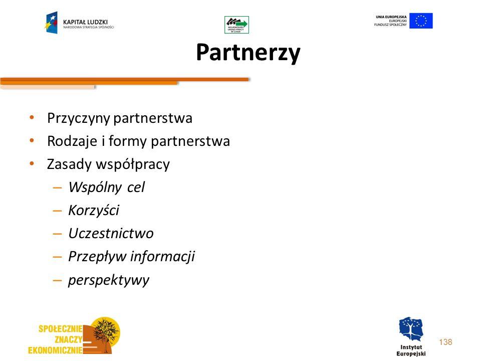 138 Partnerzy Przyczyny partnerstwa Rodzaje i formy partnerstwa Zasady współpracy – Wspólny cel – Korzyści – Uczestnictwo – Przepływ informacji – pers
