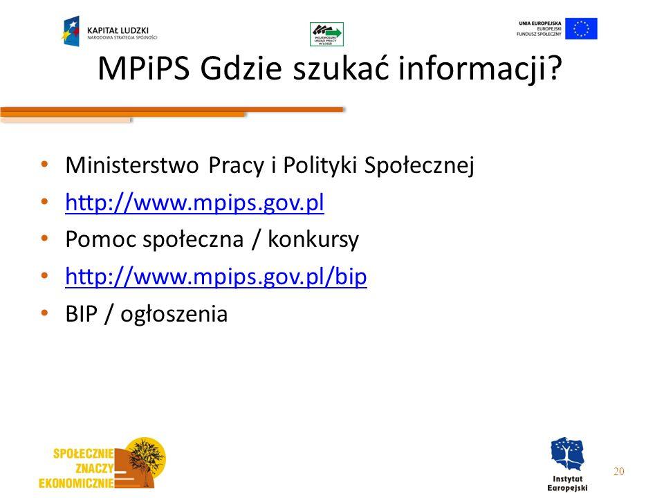 MPiPS Gdzie szukać informacji? Ministerstwo Pracy i Polityki Społecznej http://www.mpips.gov.pl Pomoc społeczna / konkursy http://www.mpips.gov.pl/bip