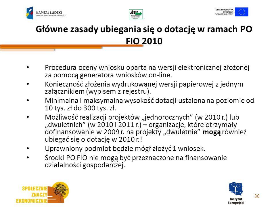 Główne zasady ubiegania się o dotację w ramach PO FIO 2010 Procedura oceny wniosku oparta na wersji elektronicznej złożonej za pomocą generatora wnios