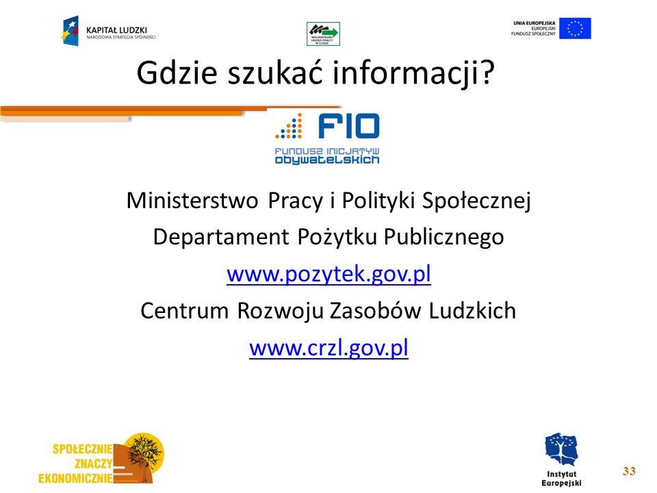Gdzie szukać informacji? Ministerstwo Pracy i Polityki Społecznej Departament Pożytku Publicznego www.pozytek.gov.pl Centrum Rozwoju Zasobów Ludzkich