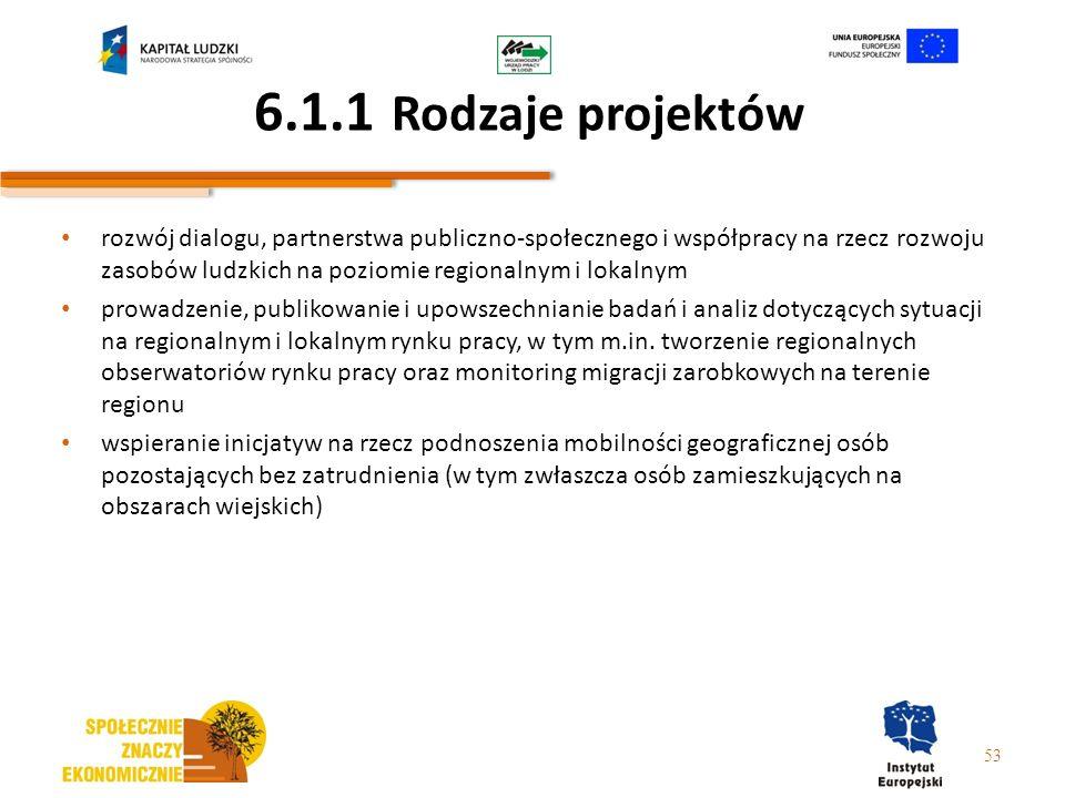 6.1.1 Rodzaje projektów rozwój dialogu, partnerstwa publiczno-społecznego i współpracy na rzecz rozwoju zasobów ludzkich na poziomie regionalnym i lok