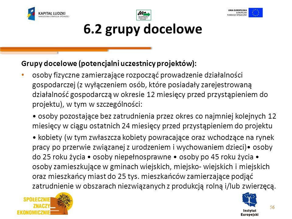 6.2 grupy docelowe Grupy docelowe (potencjalni uczestnicy projektów): osoby fizyczne zamierzające rozpocząć prowadzenie działalności gospodarczej (z w