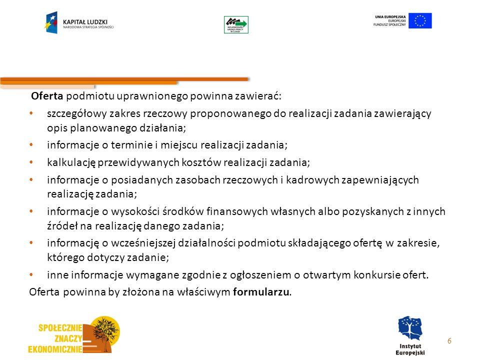 7.2.1 – typy projektów 5.rozwój nowych form i metod wsparcia indywidualnego i środowiskowego na rzecz integracji zawodowej i społecznej (w tym np.