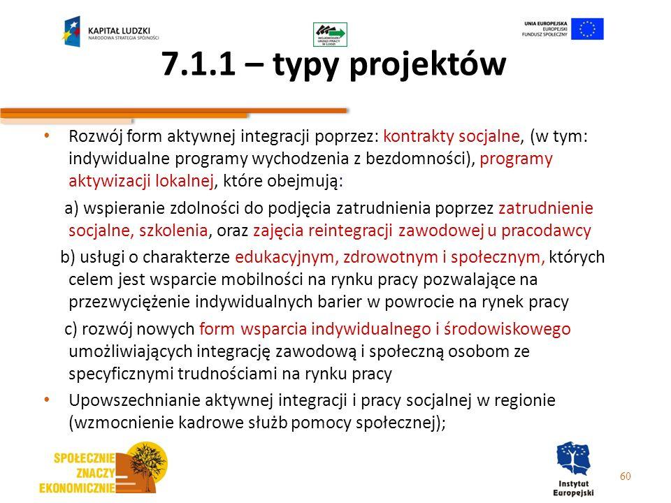 7.1.1 – typy projektów Rozwój form aktywnej integracji poprzez: kontrakty socjalne, (w tym: indywidualne programy wychodzenia z bezdomności), programy