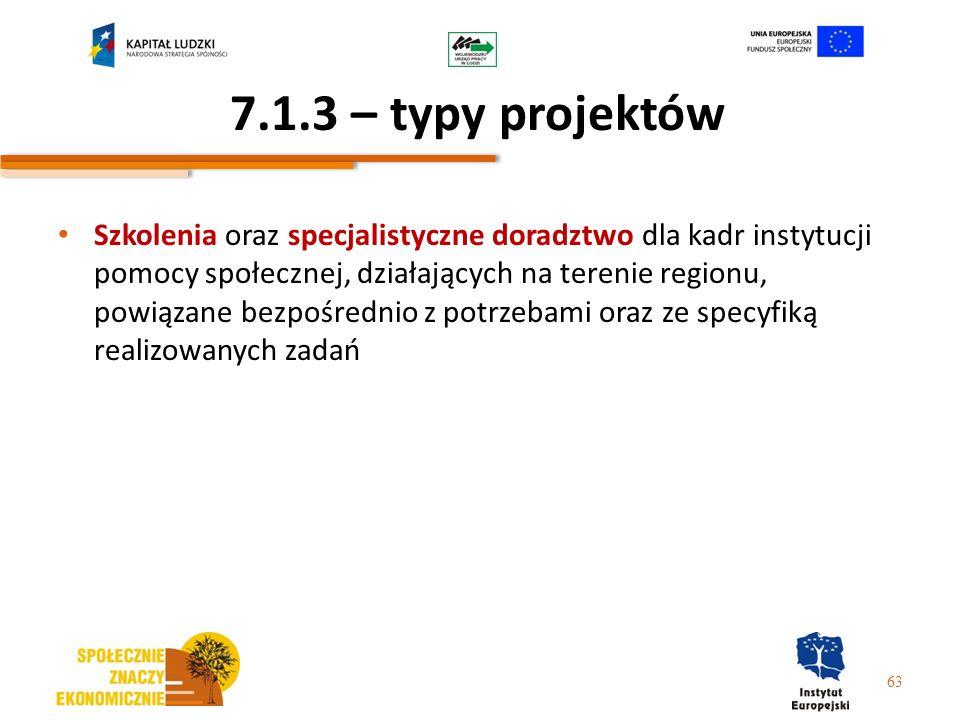 7.1.3 – typy projektów Szkolenia oraz specjalistyczne doradztwo dla kadr instytucji pomocy społecznej, działających na terenie regionu, powiązane bezp