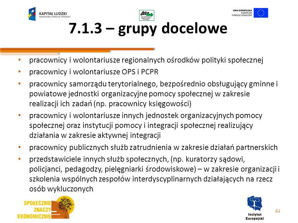 7.1.3 – grupy docelowe pracownicy i wolontariusze regionalnych ośrodków polityki społecznej pracownicy i wolontariusze OPS i PCPR pracownicy samorządu
