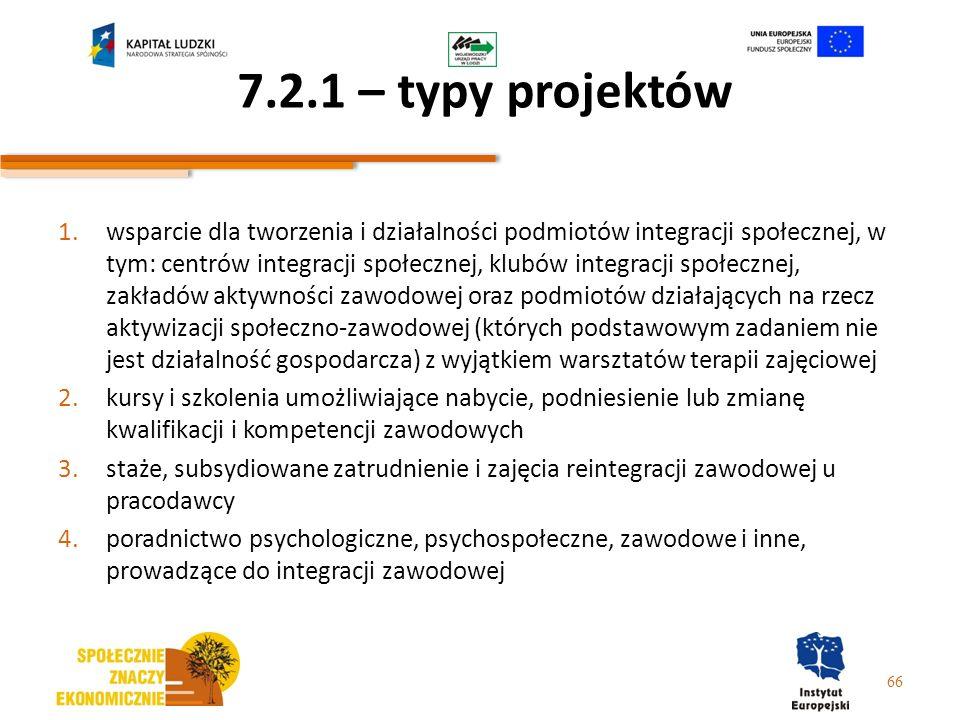 7.2.1 – typy projektów 1.wsparcie dla tworzenia i działalności podmiotów integracji społecznej, w tym: centrów integracji społecznej, klubów integracj