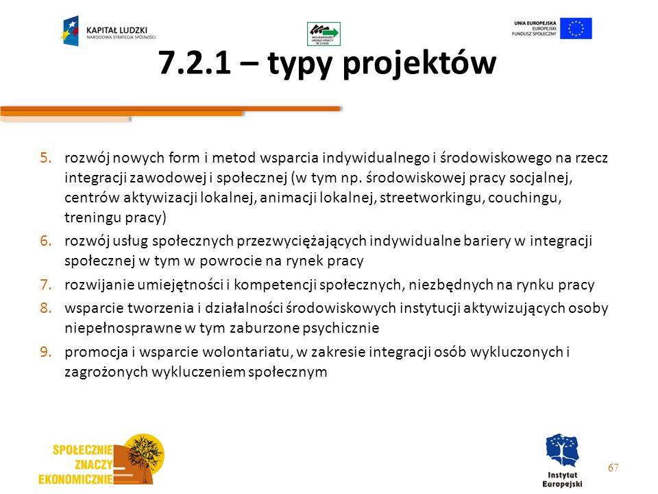 7.2.1 – typy projektów 5.rozwój nowych form i metod wsparcia indywidualnego i środowiskowego na rzecz integracji zawodowej i społecznej (w tym np. śro