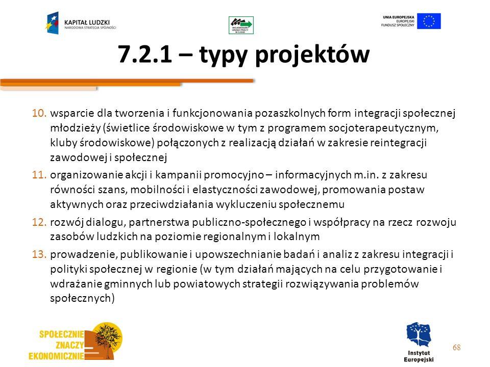 7.2.1 – typy projektów 10.wsparcie dla tworzenia i funkcjonowania pozaszkolnych form integracji społecznej młodzieży (świetlice środowiskowe w tym z p