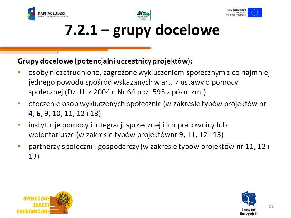 7.2.1 – grupy docelowe Grupy docelowe (potencjalni uczestnicy projektów): osoby niezatrudnione, zagrożone wykluczeniem społecznym z co najmniej jedneg