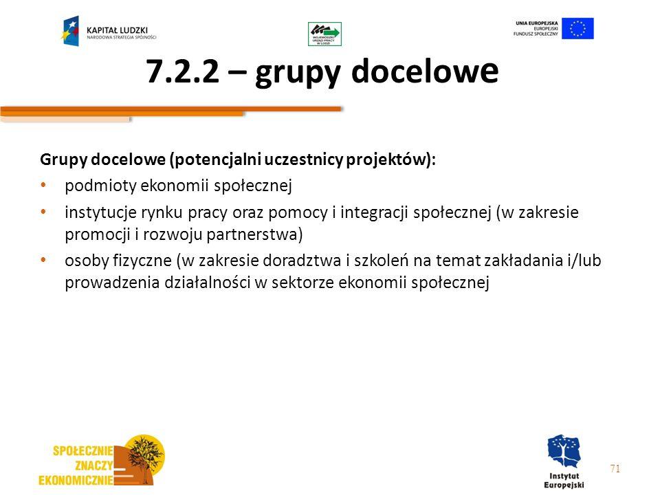 7.2.2 – grupy docelow e Grupy docelowe (potencjalni uczestnicy projektów): podmioty ekonomii społecznej instytucje rynku pracy oraz pomocy i integracj