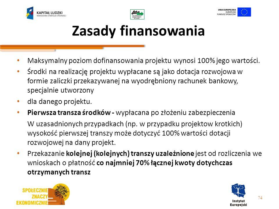 Zasady finansowania Maksymalny poziom dofinansowania projektu wynosi 100% jego wartości. Środki na realizację projektu wypłacane są jako dotacja rozwo