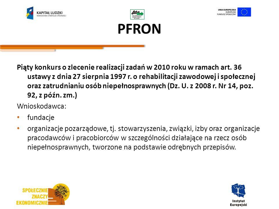PFRON Piąty konkurs o zlecenie realizacji zadań w 2010 roku w ramach art. 36 ustawy z dnia 27 sierpnia 1997 r. o rehabilitacji zawodowej i społecznej