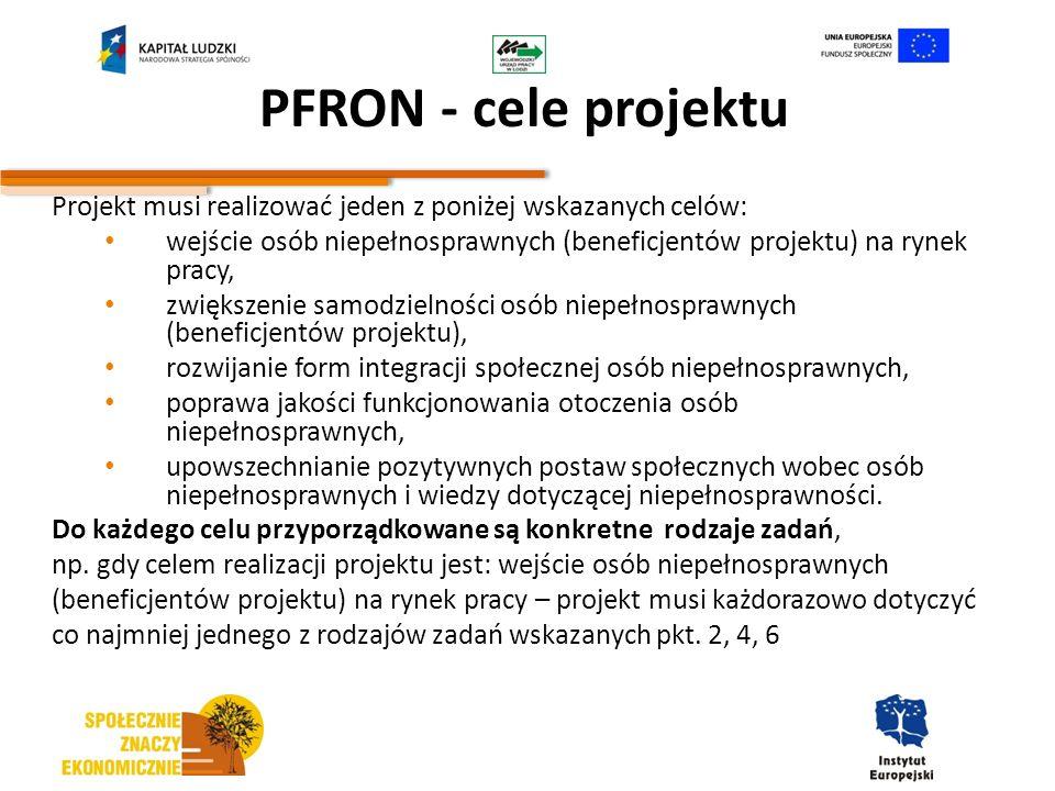 PFRON - cele projektu Projekt musi realizować jeden z poniżej wskazanych celów: wejście osób niepełnosprawnych (beneficjentów projektu) na rynek pracy
