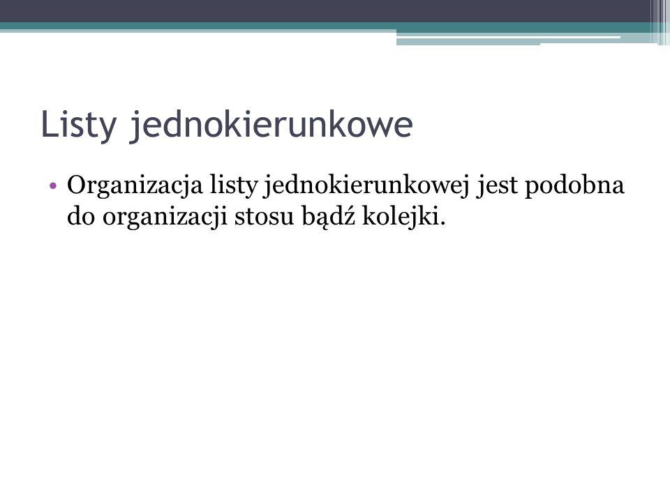 Listy jednokierunkowe Organizacja listy jednokierunkowej jest podobna do organizacji stosu bądź kolejki.