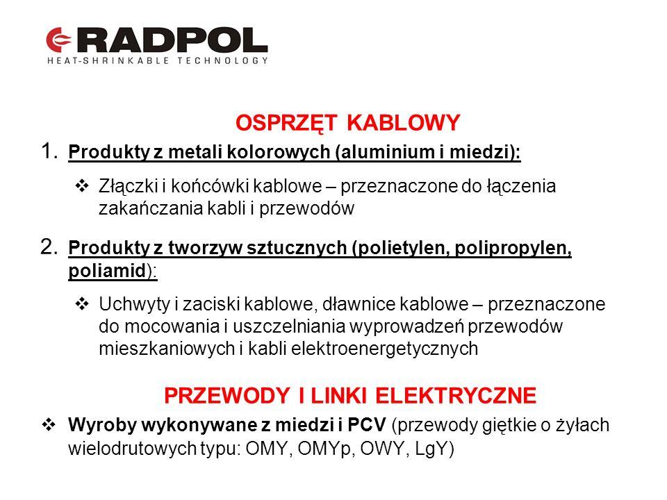 OSPRZĘT KABLOWY 1. Produkty z metali kolorowych (aluminium i miedzi): Złączki i końcówki kablowe – przeznaczone do łączenia zakańczania kabli i przewo