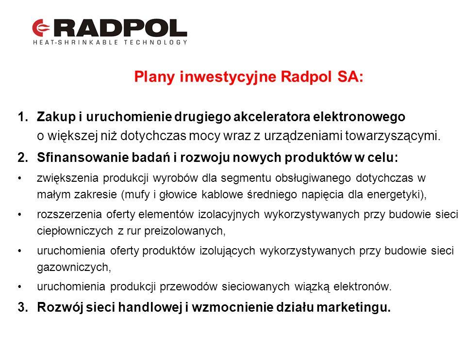 Plany inwestycyjne Radpol SA: 1.Zakup i uruchomienie drugiego akceleratora elektronowego o większej niż dotychczas mocy wraz z urządzeniami towarzyszą