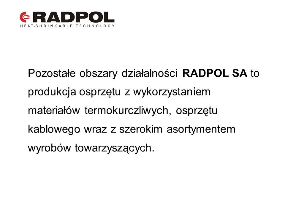 Pozostałe obszary działalności RADPOL SA to produkcja osprzętu z wykorzystaniem materiałów termokurczliwych, osprzętu kablowego wraz z szerokim asorty
