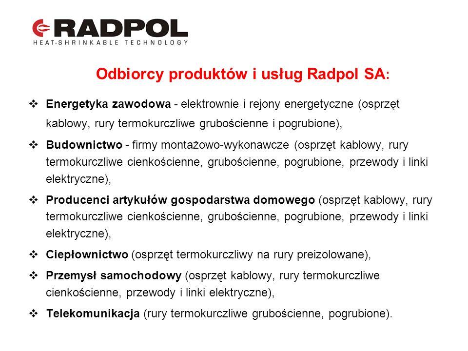 Odbiorcy produktów i usług Radpol SA : Energetyka zawodowa - elektrownie i rejony energetyczne (osprzęt kablowy, rury termokurczliwe grubościenne i po