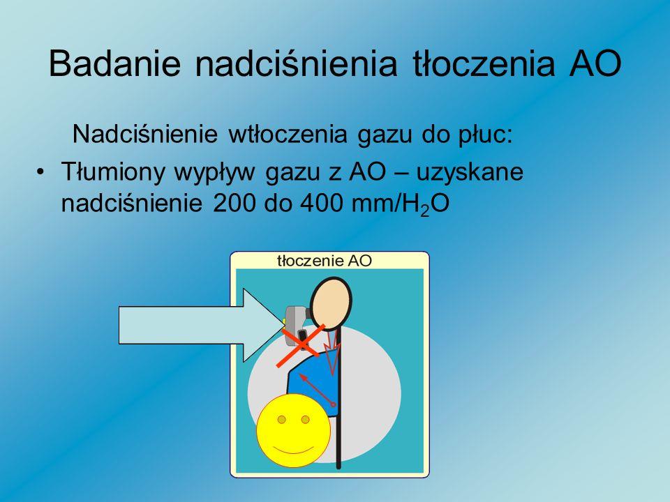 Badanie nadciśnienia tłoczenia AO W trakcie prób tłoczenia swobodnego nie zanotowałem uniesienia klatki piersiowej. Oznacza to że resuscytacja oddecho