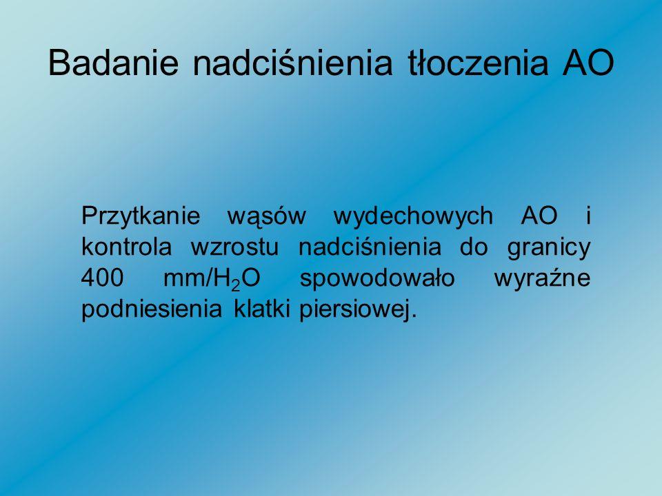 Badanie nadciśnienia tłoczenia AO Nadciśnienie wtłoczenia gazu do płuc: Tłumiony wypływ gazu z AO – uzyskane nadciśnienie 200 do 400 mm/H 2 O