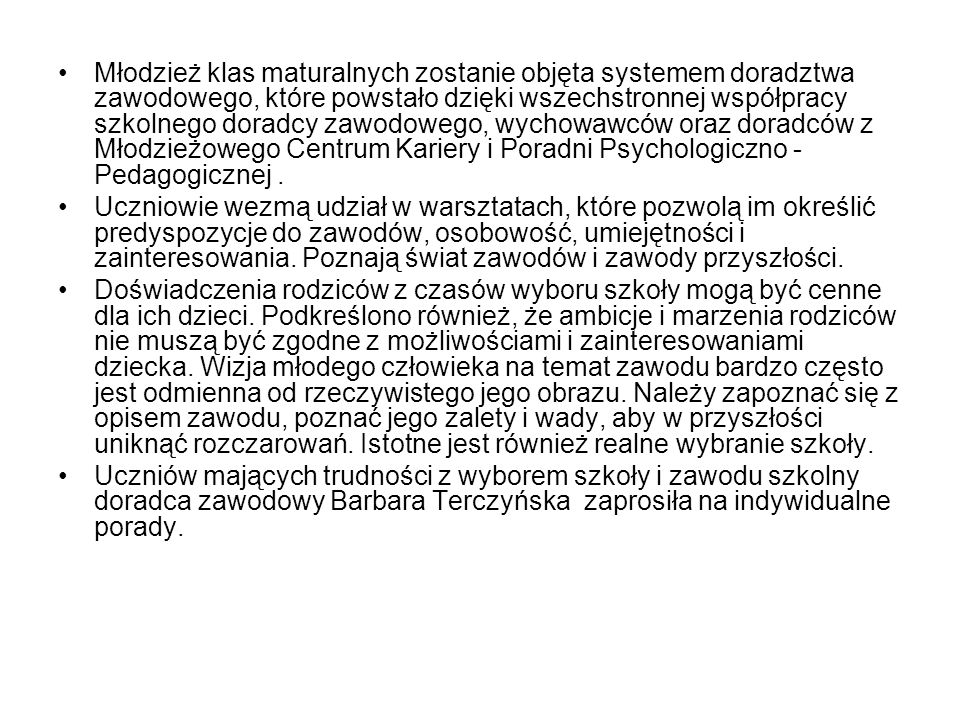 Działania podjęte przez dyrekcję Zespołu Szkół Ponadgimnazjalnych Nr 1 im ks.