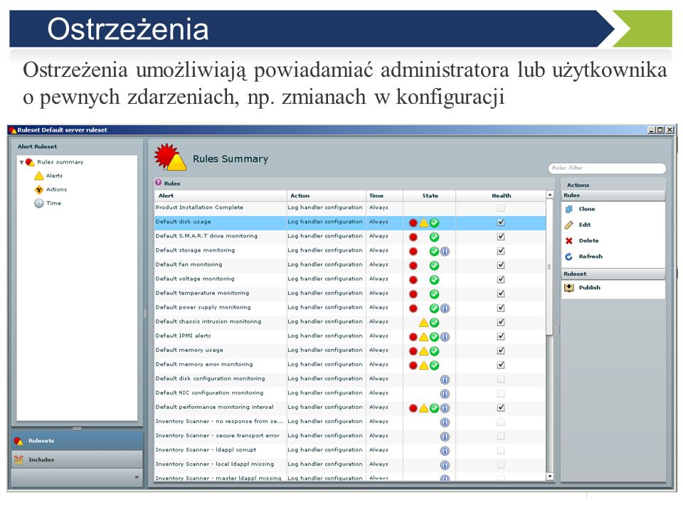 Zapytania Zapytania pozwalają na wyszukiwanie komputerów, które spełniają określone warunki na podstawie informacji ze spisu sprzętu i oprogramowania