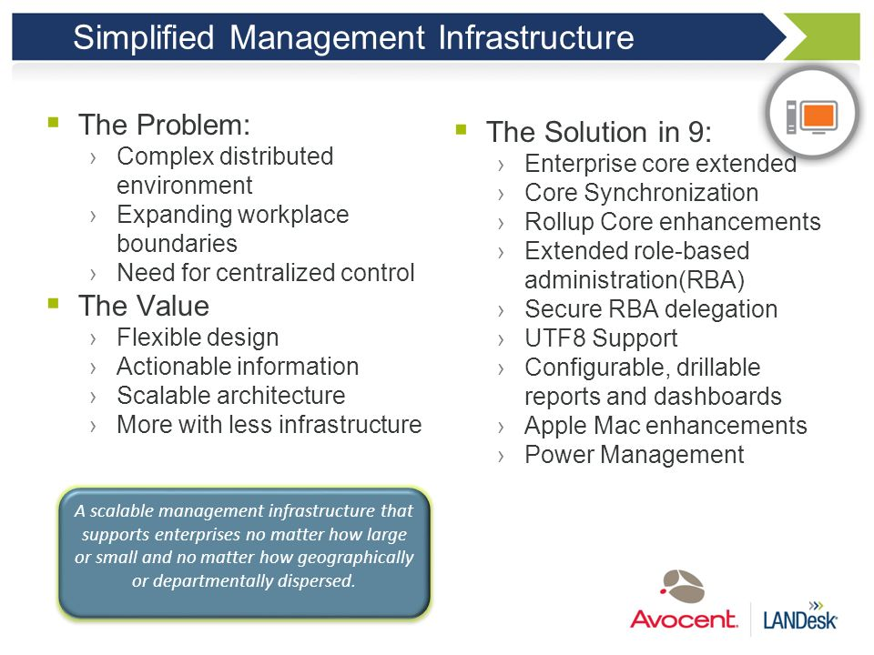 SIMPLIFIED MANAGEMENT INFRASTRUCTURE Manage the complex distributed environments and control the expanding workplace boundary 45