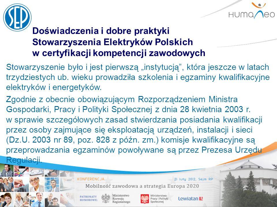 Doświadczenia i dobre praktyki Stowarzyszenia Elektryków Polskich w certyfikacji kompetencji zawodowych Stowarzyszenie było i jest pierwszą instytucją