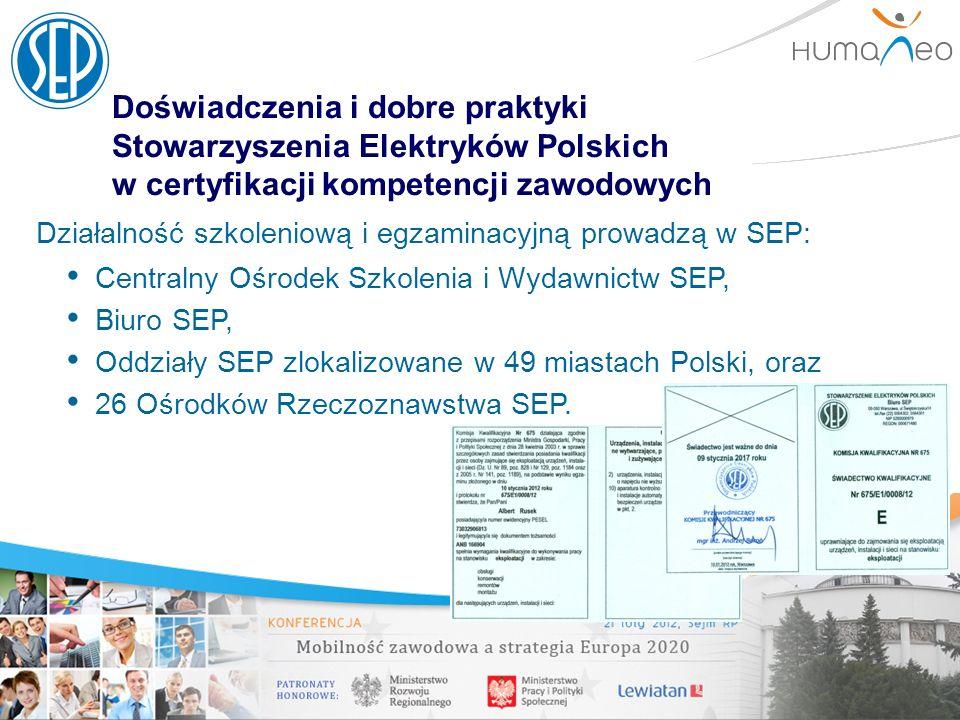 Doświadczenia i dobre praktyki Stowarzyszenia Elektryków Polskich w certyfikacji kompetencji zawodowych Działalność szkoleniową i egzaminacyjną prowad
