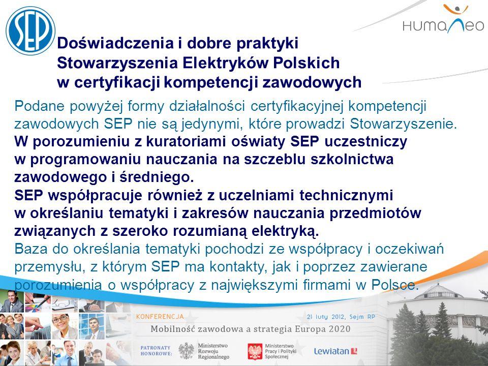 Doświadczenia i dobre praktyki Stowarzyszenia Elektryków Polskich w certyfikacji kompetencji zawodowych Podane powyżej formy działalności certyfikacyj