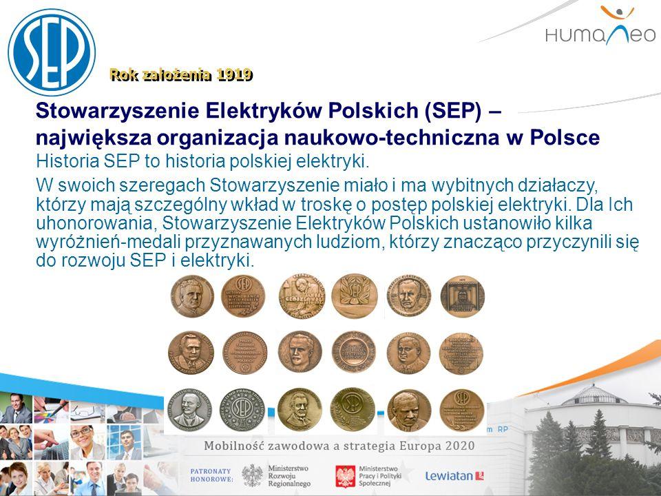 Stowarzyszenie Elektryków Polskich (SEP) – największa organizacja naukowo-techniczna w Polsce Rok założenia 1919 Historia SEP to historia polskiej ele