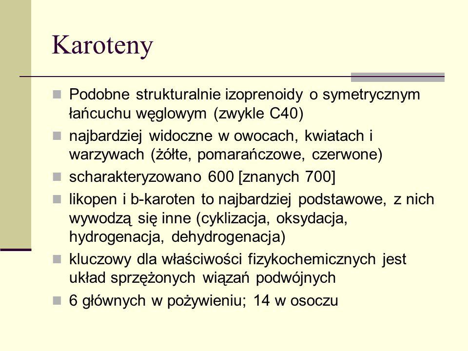 Substancje pomocnicze w procesie rozproszenia Energii Ksantofile Zaeksantyna - hydroksylacja β-karotenu; Luteina – hydroksylacja α-karotenu Rośliny z nadekspresją β-hydroksylazy => zaeksantyny => tolerancji na upał Rośliny z nadekspresją ε-cyklazy => luteiny => rozproszenie energii