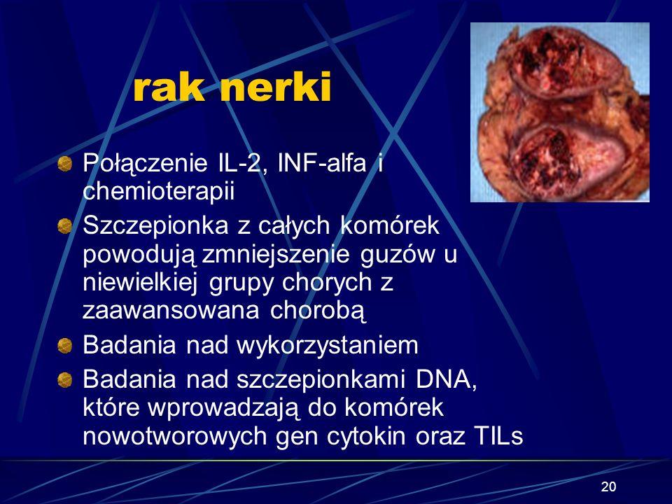 20 rak nerki Połączenie IL-2, INF-alfa i chemioterapii Szczepionka z całych komórek powodują zmniejszenie guzów u niewielkiej grupy chorych z zaawanso