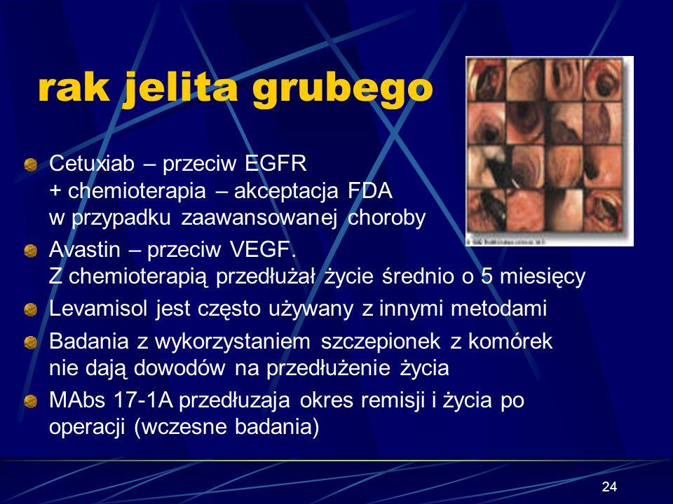 24 rak jelita grubego Cetuxiab – przeciw EGFR + chemioterapia – akceptacja FDA w przypadku zaawansowanej choroby Avastin – przeciw VEGF. Z chemioterap