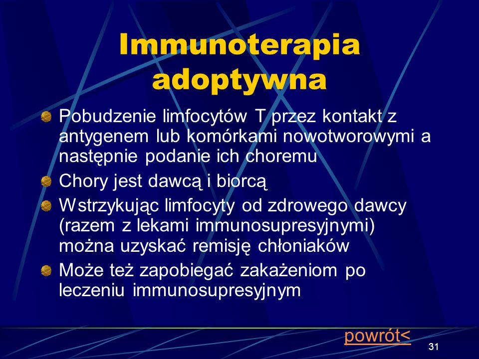 31 Immunoterapia adoptywna Pobudzenie limfocytów T przez kontakt z antygenem lub komórkami nowotworowymi a następnie podanie ich choremu Chory jest da