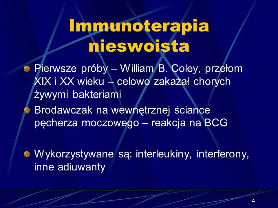 4 Immunoterapia nieswoista Pierwsze próby – William B. Coley, przełom XIX i XX wieku – celowo zakażał chorych żywymi bakteriami Brodawczak na wewnętrz