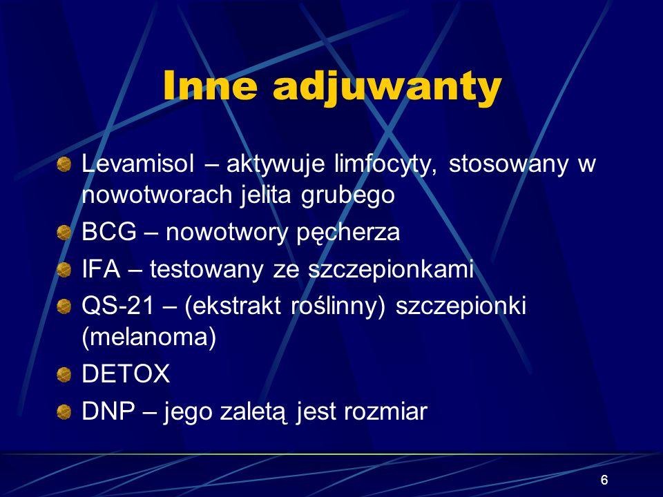 6 Inne adjuwanty Levamisol – aktywuje limfocyty, stosowany w nowotworach jelita grubego BCG – nowotwory pęcherza IFA – testowany ze szczepionkami QS-2
