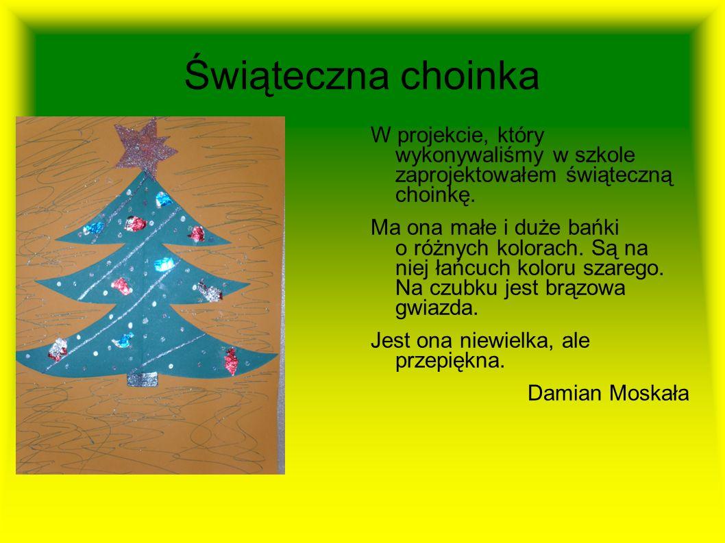 Choinki:) Obraz przedstawia dwie choinki. Pierwsza choinka jest mała i ma różnokolorowe lampki. Drzewko jest również ozdobione złotym brokatem i świec