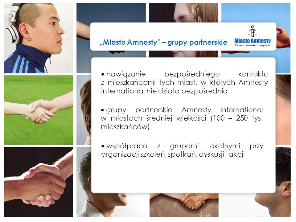 grupy partnerskie Amnesty International w miastach średniej wielkości (100 – 250 tys. mieszkańców) współpraca z grupami lokalnymi przy organizacji szk