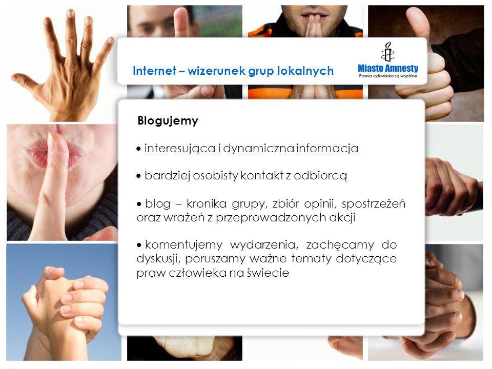 Internet – wizerunek grup lokalnych Grupa Amnesty International ds. komunikacji internetowej szybka i sprawna komunikacja w Internecie monitoring i śl